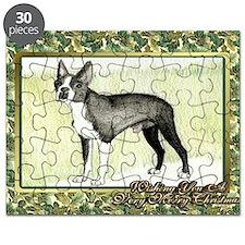 Boston Terrier Dog Christmas Puzzle