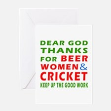 Beer Women and Cricket Greeting Card