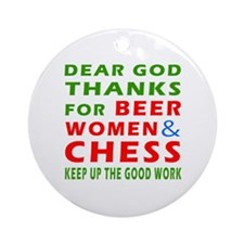Beer Women and Chess Ornament (Round)