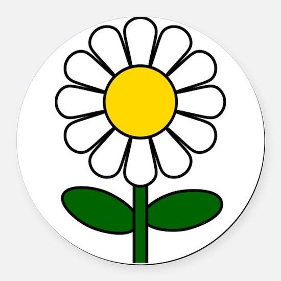 Daisy Flower Round Car Magnet