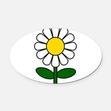 Daisy Flower Oval Car Magnet