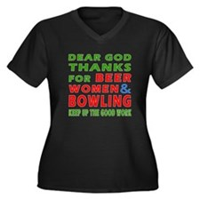 Beer Women and Bowling Women's Plus Size V-Neck Da