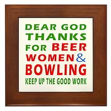 Beer Women and Bowling Framed Tile