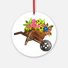 Wheelbarrow of Flowers Ornament (Round)