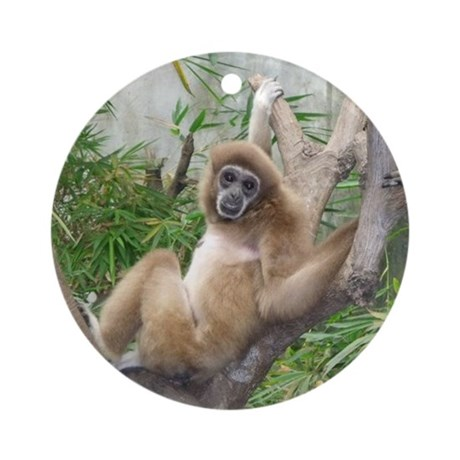 Animal Pillow Relaxation : relaxing monkey throw pillow Round Ornament by Admin_CP22896302