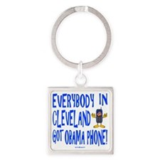 Obama Phone Square Keychain