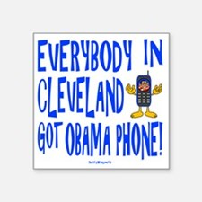 "Obama Phone Square Sticker 3"" x 3"""