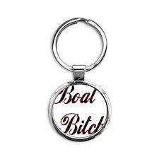 BOAT BITCH CENTERED Round Keychain