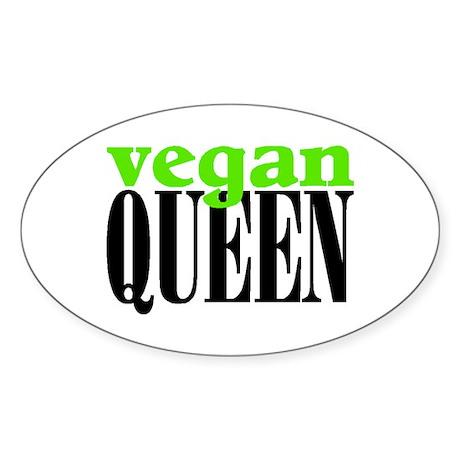VEGAN QUEEN Oval Sticker