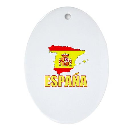 Espana Flag/Map Oval Ornament