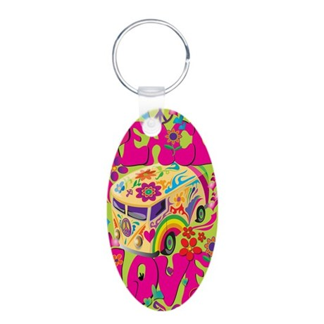 peace-and-love-iphone Aluminum Oval Keychain