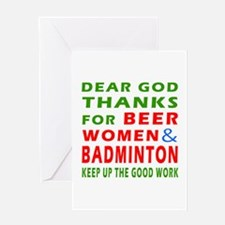 Beer Women and Badminton Greeting Card