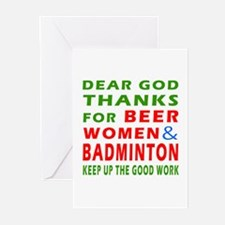 Beer Women and Badminton Greeting Cards (Pk of 10)