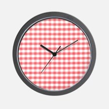 Red Gingham Pattern Wall Clock