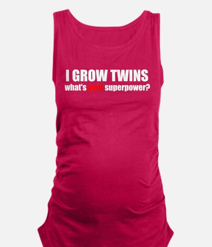 grow twinsblack.png Maternity Tank Top
