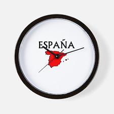 Espana Red Map Wall Clock
