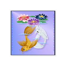 """PillowGold and Silver Koi w Square Sticker 3"""" x 3"""""""