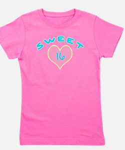 sweet 16 sixteen teal yellow trs2.png Girl's Tee