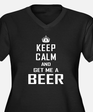 Get Me a Beer Women's Plus Size V-Neck Dark T-Shir
