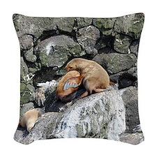 Tote7x7_Sealion_1 Woven Throw Pillow