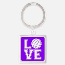 Love Volleyball, Violet Purple Square Keychains