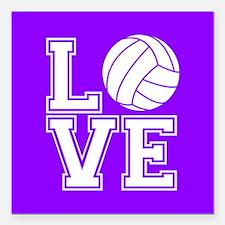Love Volleyball, Violet Purple Square Square Car M