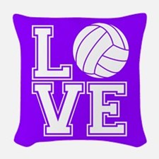Love Volleyball, Violet Purple Square Woven Throw