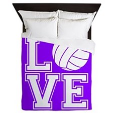 Love Volleyball, Violet Purple Square Queen Duvet