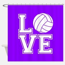 Love Volleyball, Violet Purple Square Shower Curta