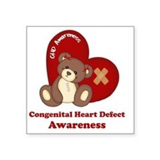 "Congenital Heart Defect Awa Square Sticker 3"" x 3"""