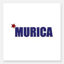"'Murica America Square Car Magnet 3"" x 3"""