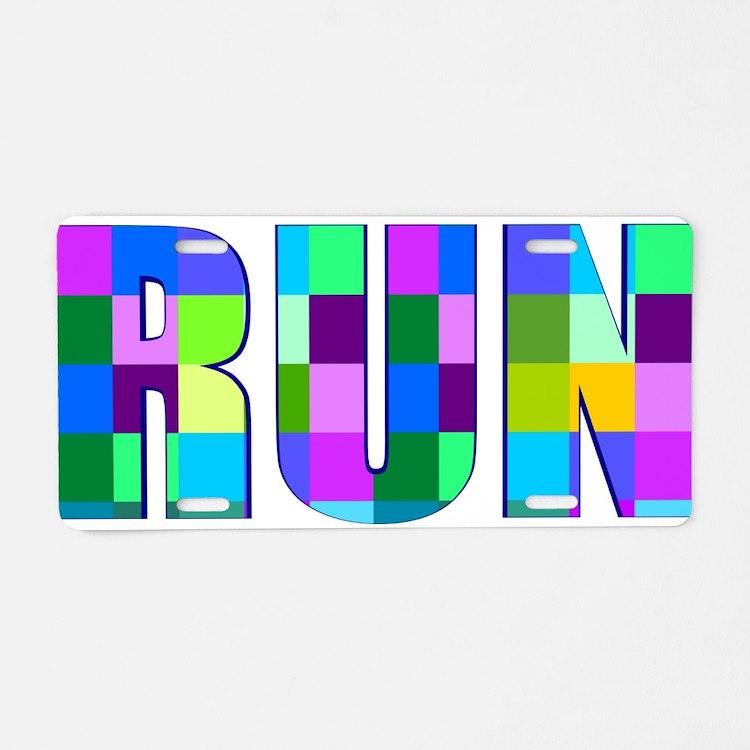 Run Squares Aluminum License Plate