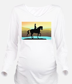 Dressage By The Sea Long Sleeve Maternity T-Shirt