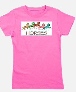 many leaping horses Girl's Tee
