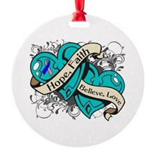 Thyroid Cancer Hope Hearts Ornament