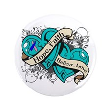 "Thyroid Cancer Hope Hearts 3.5"" Button"