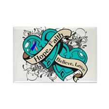 Thyroid Cancer Hope Hearts Rectangle Magnet