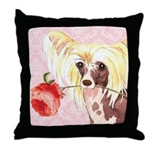 Chinese Crested Rose Throw Pillow