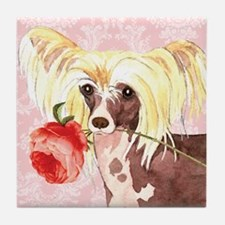 Chinese Crested Rose Tile Coaster