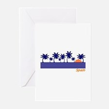 Spain Blue Palms Greeting Cards (Pk of 10)