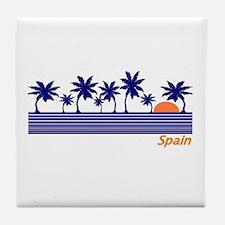 Spain Blue Palms Tile Coaster