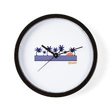 Spain Blue Palms Wall Clock