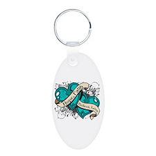 PCOS Hope Faith Dual Hearts Keychains