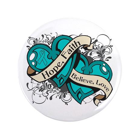 """PCOS Hope Faith Dual Hearts 3.5"""" Button"""
