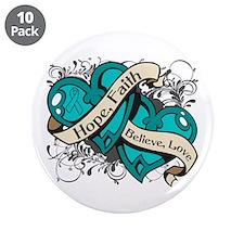 "PCOS Hope Faith Dual Hearts 3.5"" Button (10 pack)"