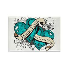 PCOS Hope Faith Dual Hearts Rectangle Magnet