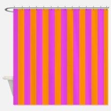 Pink And Orange Stripes Shower Curtain