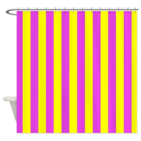 Pink And Yellow Stripes Shower Curtain By CoolPatterns