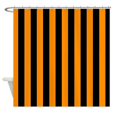 Orange And Black Stripes Shower Curtain By CoolPatterns