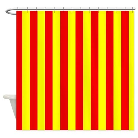 Red And Yellow Stripes Shower Curtain By CoolPatterns